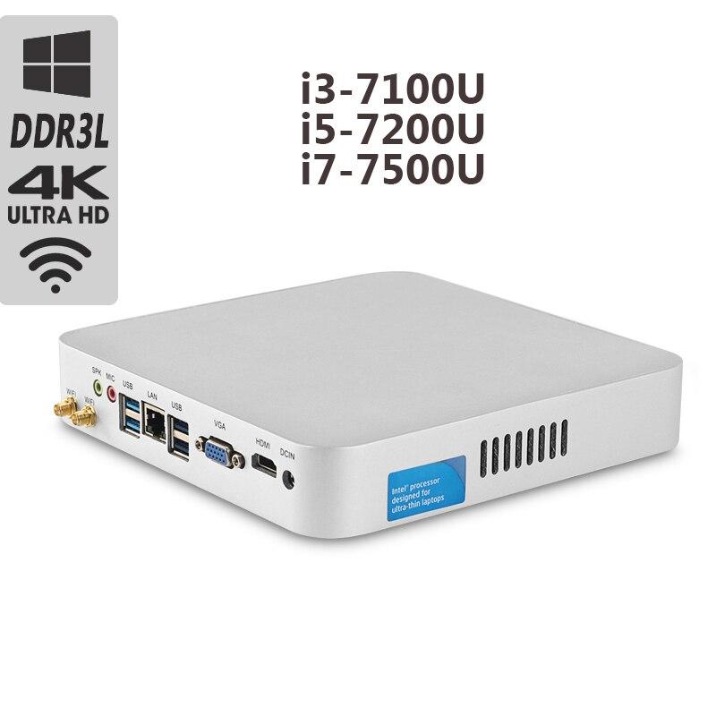 Intel Core CPU Mini PC i5 7200U i7 7500U Mini ordinateur de bureau i3 7100U ventilateur de refroidissement Windows 10 8 gb Ram 4 K ordinateur