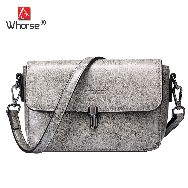 [WHORSE] Brand New Fashion Genuine Leather Women Messenger Bags Small Flap Casual Ladies Crossbody Shoulder Bag For Woman W07400 ybyt brand 2018 new fashion casual handbags women flap luxury pu leather clutches ladies small shoulder messenger crossbody bags