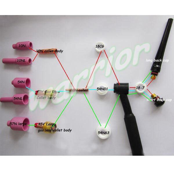 TIG Gas Lens Collet Body Back Cap Fit PTA DB SR WP 9 20 25 TIG Welding Torch Accessories Consumables 42pcs