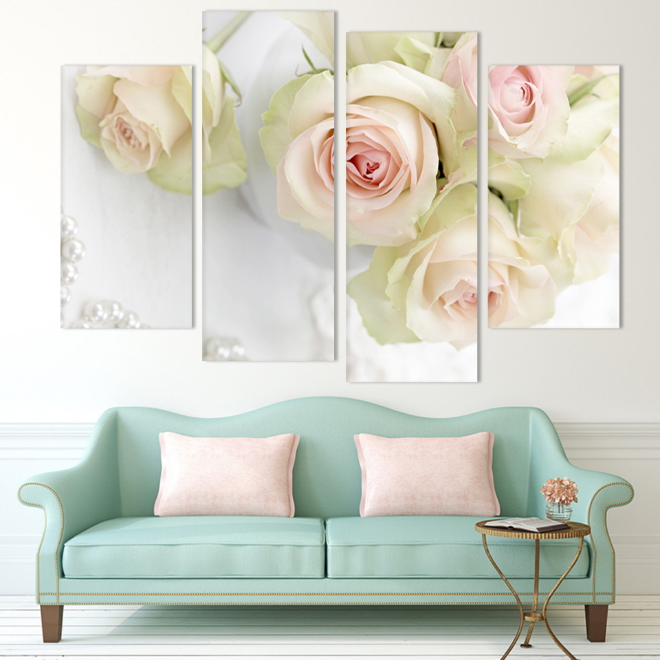 2016 art design 4 panel white rose flower large hd picture for Rose home decorations