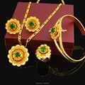 2016 Novo Etíope Belas Flores conjunto de Jóias 24 k Banhado A Ouro de Cristal Eritreia Africano Conjunto de Jóias de Casamento Das Mulheres