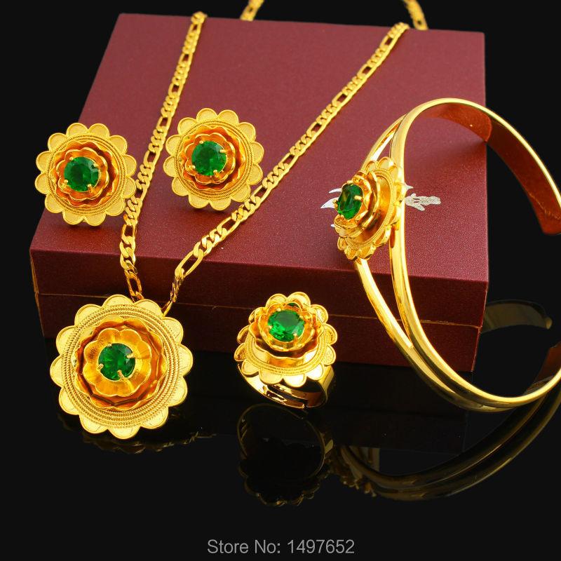 Комплект ювелирных изделий с красивым цветком, 24 к, золотого цвета, с кристаллами в африканском стиле, для женщин, для свадьбы, 2017