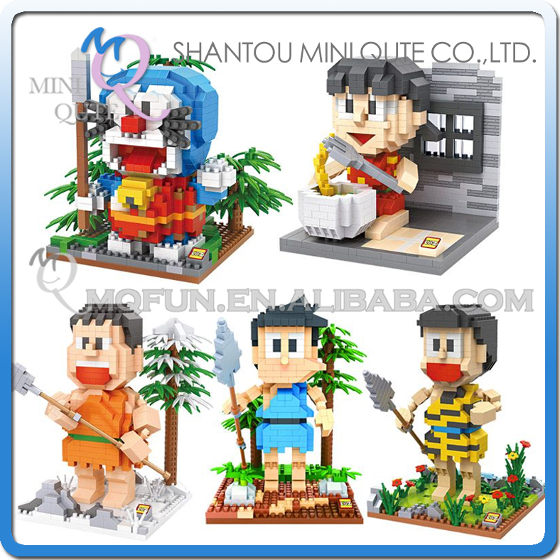 Full Set 5pcs/lot Mini Qute Kawaii loz Anime Doraemon cartoon block plastic action figure building block educational toy loz 280pcs l 9522 deadpool action figure building block educational diy toy