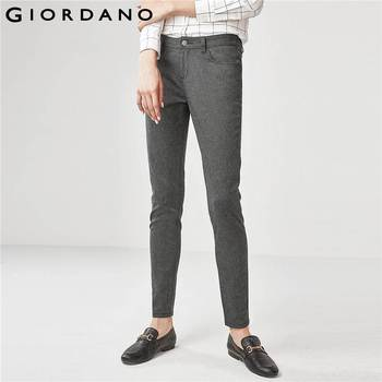 Giordano Women Mid Rise Slim Tapered Pocket Ankle Length Zip Closure Slant Pockets Pantalones Mujer Slim Cutting Stretchy Pants pocket