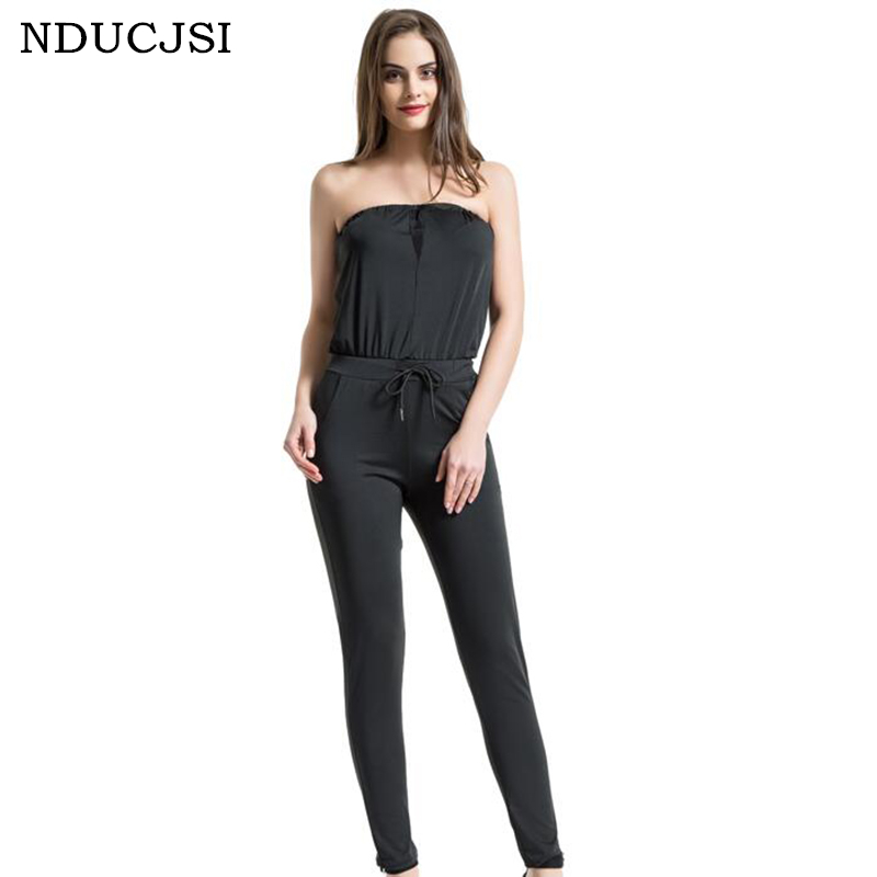NDUCJSI 2018 Summer Rompers Women Jumpsuit Sexy Bra Mesh Stitching Jumpsuits Sashes Full Length Solid Colors Womens Clothing