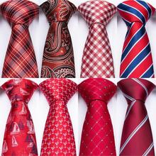 DiBanGu Red Mens Ties Silk Neck Ties Pocket Square Cufflinks