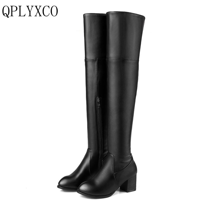 QPLYXCO 2017 New Big and small Size 30-48 Genuine Leather high Boots shoes Women's over the knee high Boots High quality  116-13