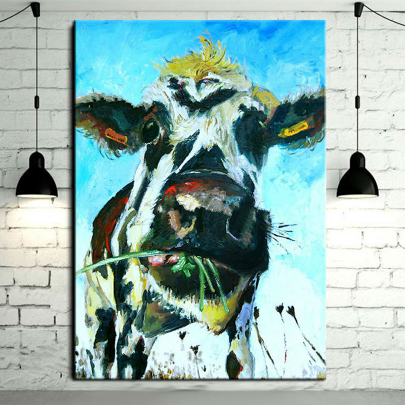 Large Funny Cow Pictures Gifts Modern Home Decor Wall Art Handpainted Abstract Cartoon Oil Paintings on