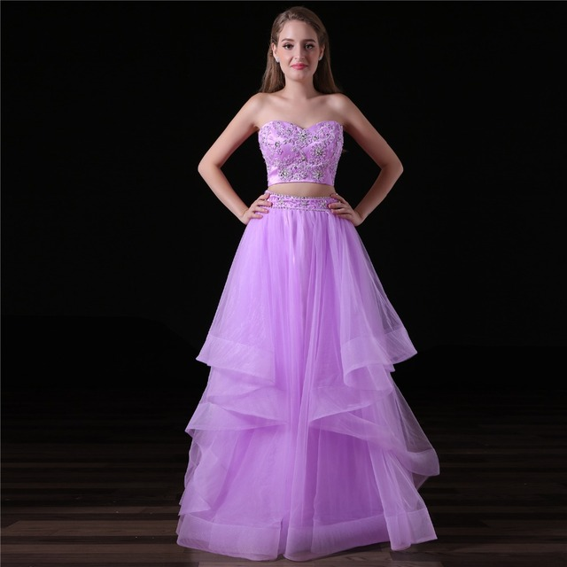 JaneVini Two Piece Bridesmaid Dresses A Line Sweetheart Lace Appliques Sequins Beads Backless Tulle Long Prom Gowns Floor Length