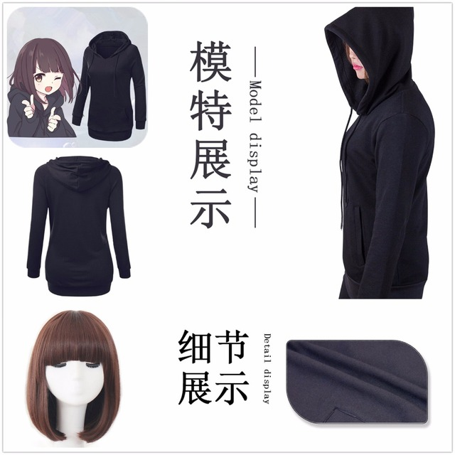 US $22 99 |Coat Hoodie Menhera chan Cosplay LINE Emoticon Christmas School  Girl Black Cotton Casual Uniform Outfit Cosplay Costume / Wig-in Anime