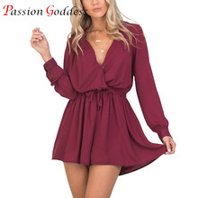 2017 New Women Summer Casual Short Jumpsuits V neck Long Sleeve Back Hollow Out Black Rompers