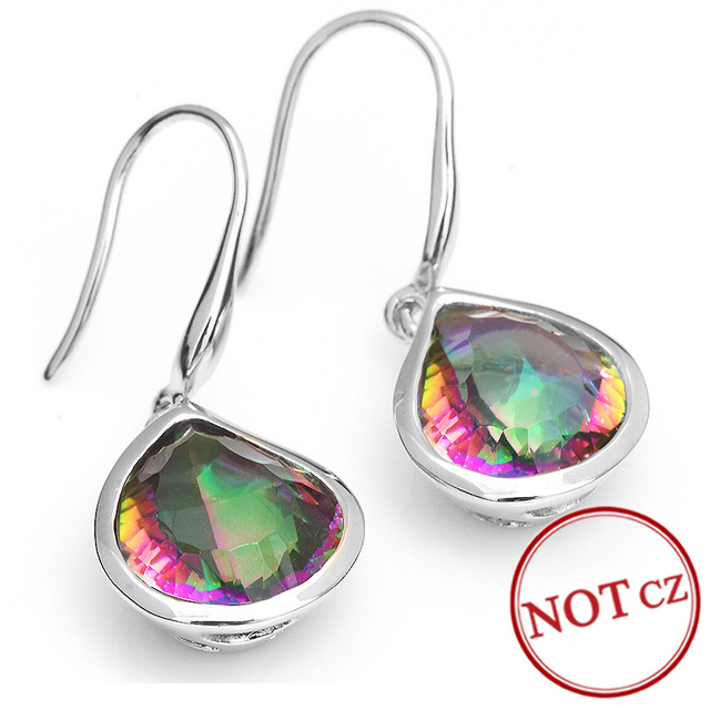 Brand New 8.6ct Rainbow Fire Mystic Topaz Dangle Earrings