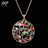 Top Quality Multi Flowers Necklace Rose Gold Color Fashion Pendant Jewelry Made with Crystal Wholesale N048 N049