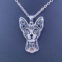 2021 милое ожерелье с подвеской в виде кошки sphynx посеребренное