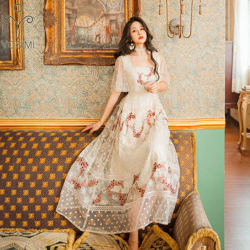 YOSIMI Vrouwen Jurk 2019 Zomer Maxi Elegante Beige Mesh Bloemen Borduren Lange Vrouwen Fee Korte Mouw Avond Party Dress-in Jurken van Dames Kleding op  Groep 1