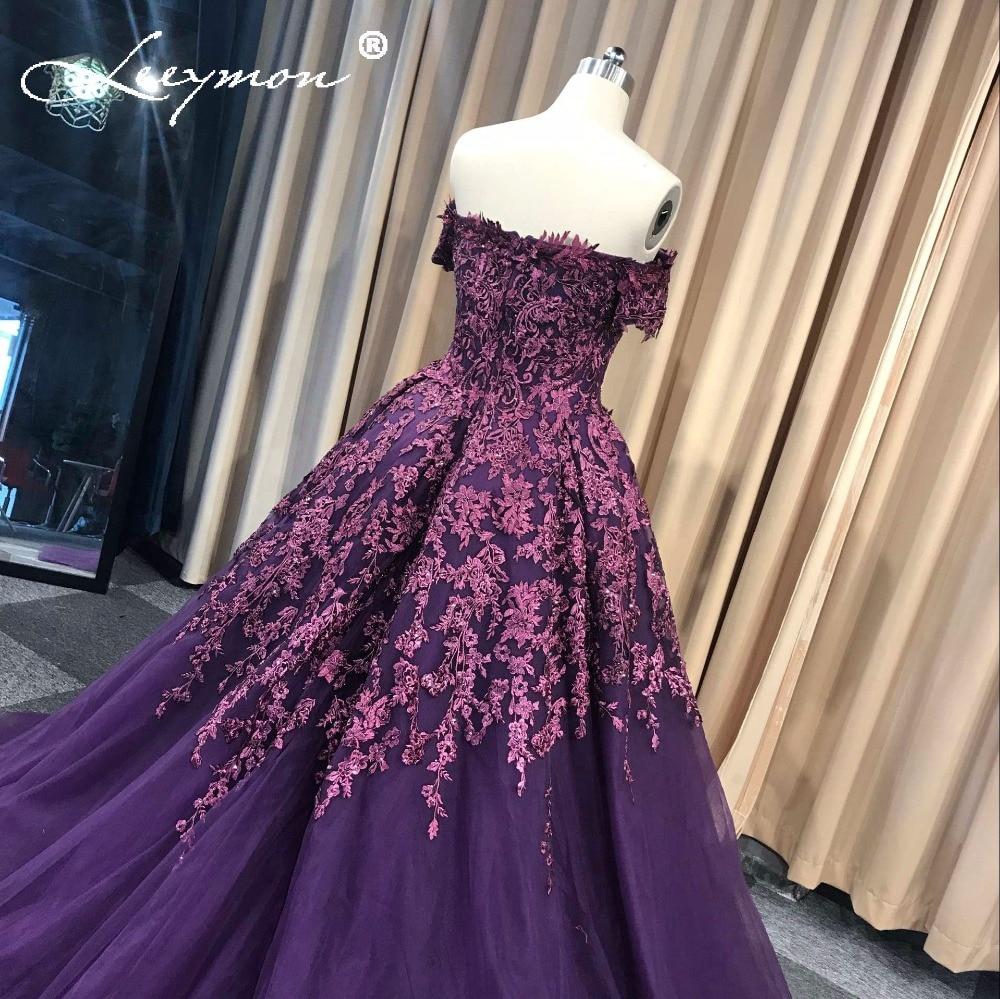 Lila Vestidos de Noiva Bollklänning Lace Evening Dress Lång Av Axel - Särskilda tillfällen klänningar - Foto 5