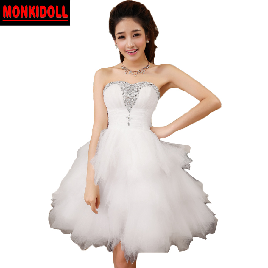 Online Shop Elegant Informal Red Wedding Dresses Short Ball Gown Dress 2017 Made In China Bridal Gowns Cheap Robe De Mariage