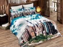 Комплект постельного белья двуспальный-евро VIRGINIA SECRET, Bamboo, город, бирюзовый, 3D