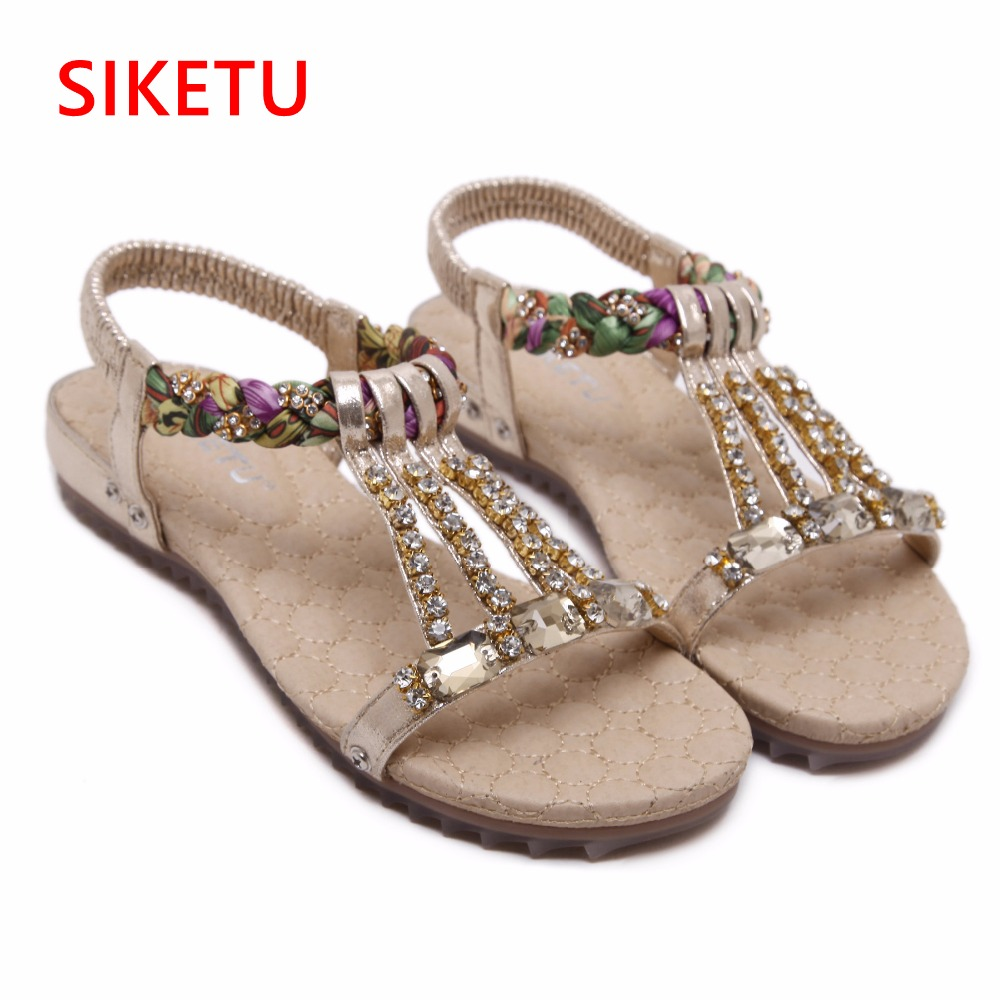2017 Women Sandals Bohemia Flower Summer Women Shoes Slip-on Flats Sandals Casual Ladies Shoes Sandalias Mujer Big Size 325-9 size 4 11 big size sandals women shoes black beading 2016 summer women flats shoes sandalias mujer check foot length
