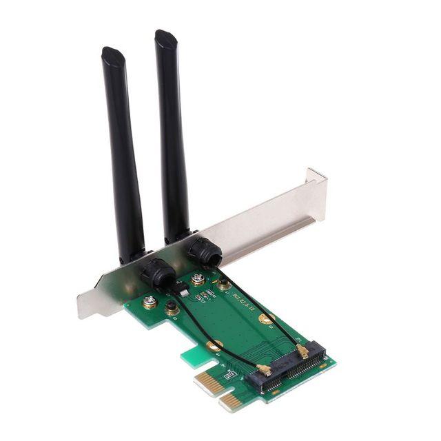 Kablosuz Ağ Kartı WiFi Mini PCI-E Express PCI-E Adaptörü 2 Anten Harici PC