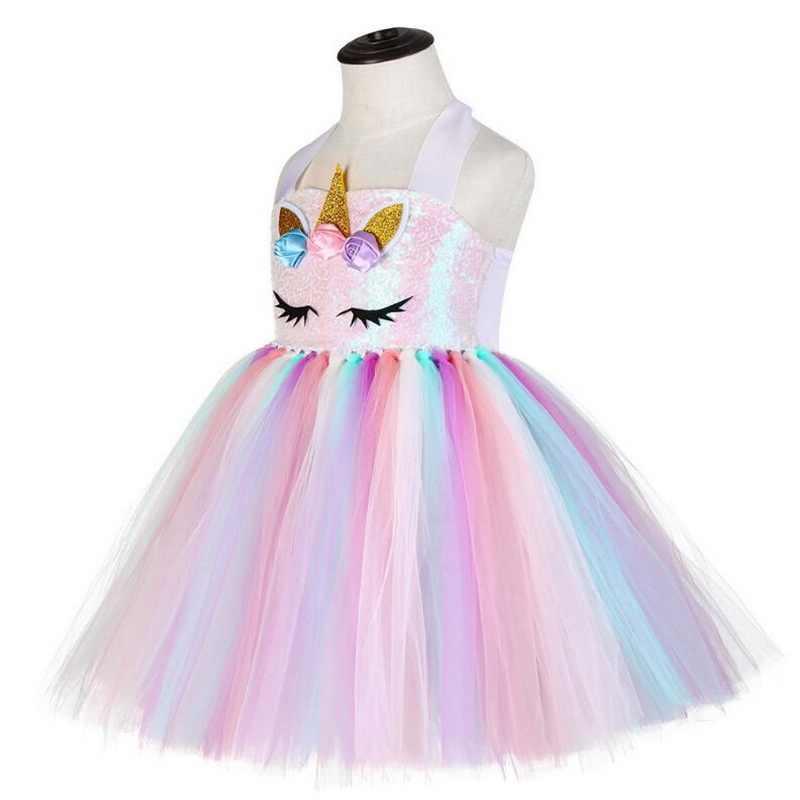جديد الاطفال يونيكورن ازياء للبنات يونيكورن توتو فستان مع الذهب عقال أجنحة الأميرة بنات هالوين فستان الحفلات 2-10 سنوات