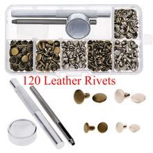 120 Pcs Leather Rivets Metal Double Cap Round Rapid Rivet Spike Stud Leather Craft Belt Wallet Bag Clothes Decor DIY Repair Nail