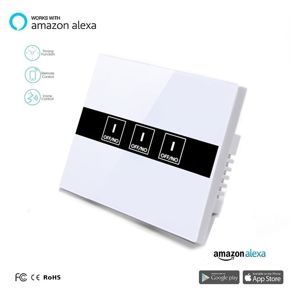 Work with Amazon Alexa ,Google home 90~250V Smart Wi-Fi Switch Glass Panel UK 3gang Touch Light wall Switch Ewelink app work with amazon alexa google home 90 250v smart wi fi switch glass panel uk 3gang touch light wall switch ewelink app
