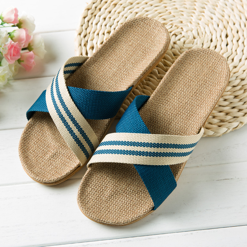 Hot New Summer Men Flax Flip Flop Canvas Linen Non-Slip Designer Flat Sandals Home Slippers Man Fashion Slides Casual Straw Shoe coolsa new summer linen women slippers fabric eva flat non slip slides linen sandals home slipper lovers casual straw beach shoe page 3