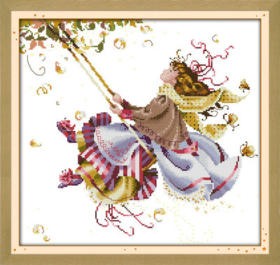 Swing fairy angel girl painting Counted or Stamped Cross