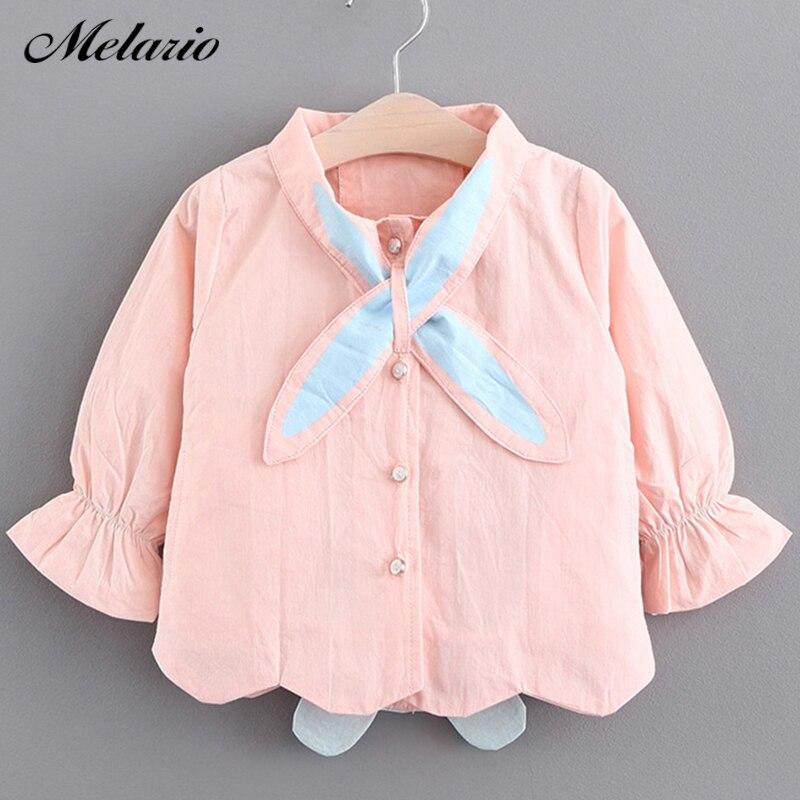 bac06d7f74 Melario dziewczynek płaszcze 2019 nowy jesień trzy króliki słodkie ubranka  dla dzieci odzieży dla niemowląt Cartoon uszy królika z kapturem dzieci  płaszcz w ...