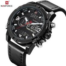 Naviforce модные повседневные брендовые кожаные мужские Наручные часы Кожа Спорт Армия Военное Дело часы Relogio Masculino