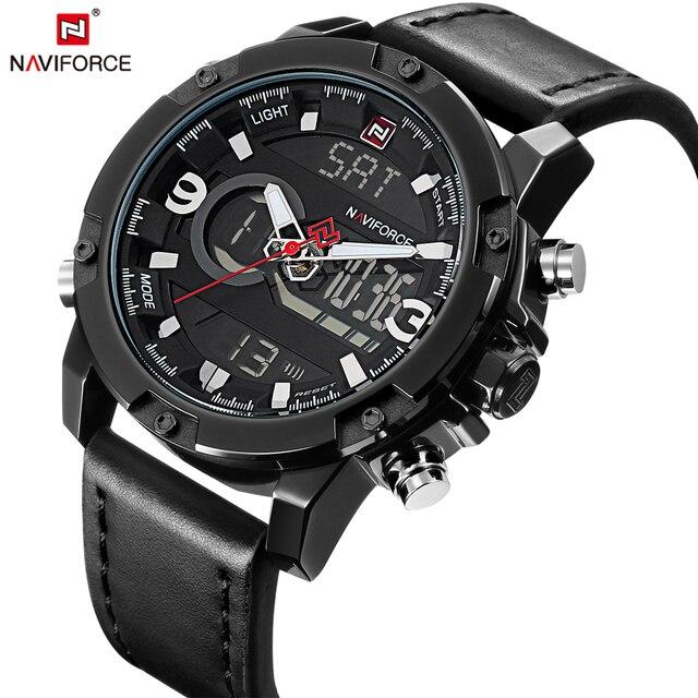 Naviforce marca de moda casual de los hombres de doble pantalla digital de pulsera de cuero deporte ejército reloj militar reloj relogio masculino