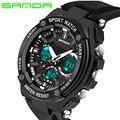 SANDA Relógios Homens Resistente À Água 30 m Marca de Luxo Militar Digital Multi Função Relógio de Silicone Relógios Desportivos Para Meninos Masculino