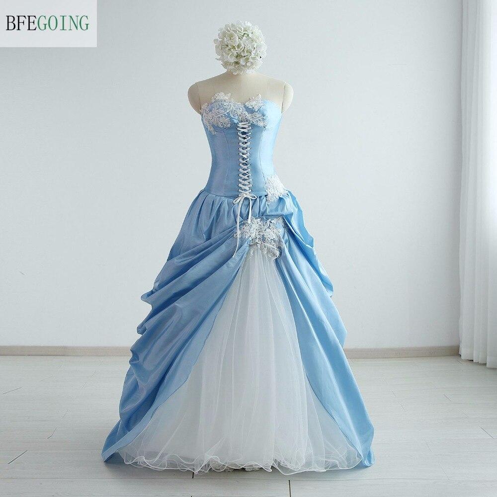 Taffetas bleu Tulle blanc a-ligne robe de mariée longueur au sol sans bretelles Photos réelles/originales sur mesure