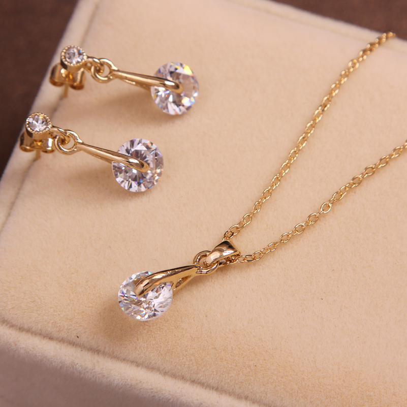 Fashion Gold Silve Color Pendants & Necklace Drop Earrings Natural Stone Cubic Zirconia Crystal Wedding Bridal Jewelry Sets