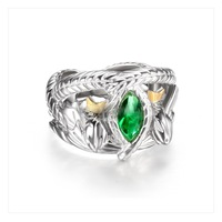 Solid 925 Silver Shiny Green Crystal Ring, Prince Aragorn's Ring of Barahir, Sterling Silver Cool Snake Heads Crown Ring