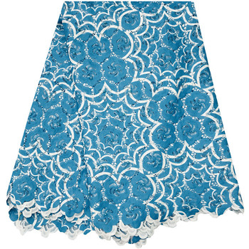 Royal blue High quality Voile Lace African guipure lace fabric for sewing african cord lace fabric for nigerian Wedding Dress