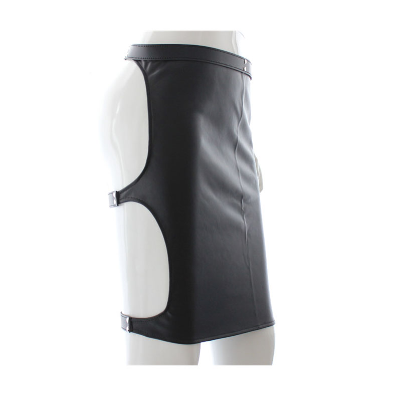 Halloween Leather Spanking Skirt Open Hip Bondage Fetish Lace Up Mini Dress,Sexy Lingerie Sex Toys For Women