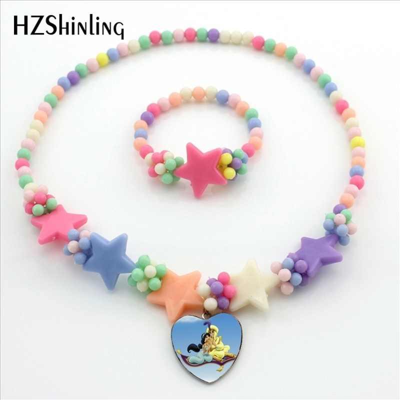 HZShinling nouveauté princesse jasmin coeur collier fait à la main coeur pendentif fleur collier étoile bijoux pour filles et femmes