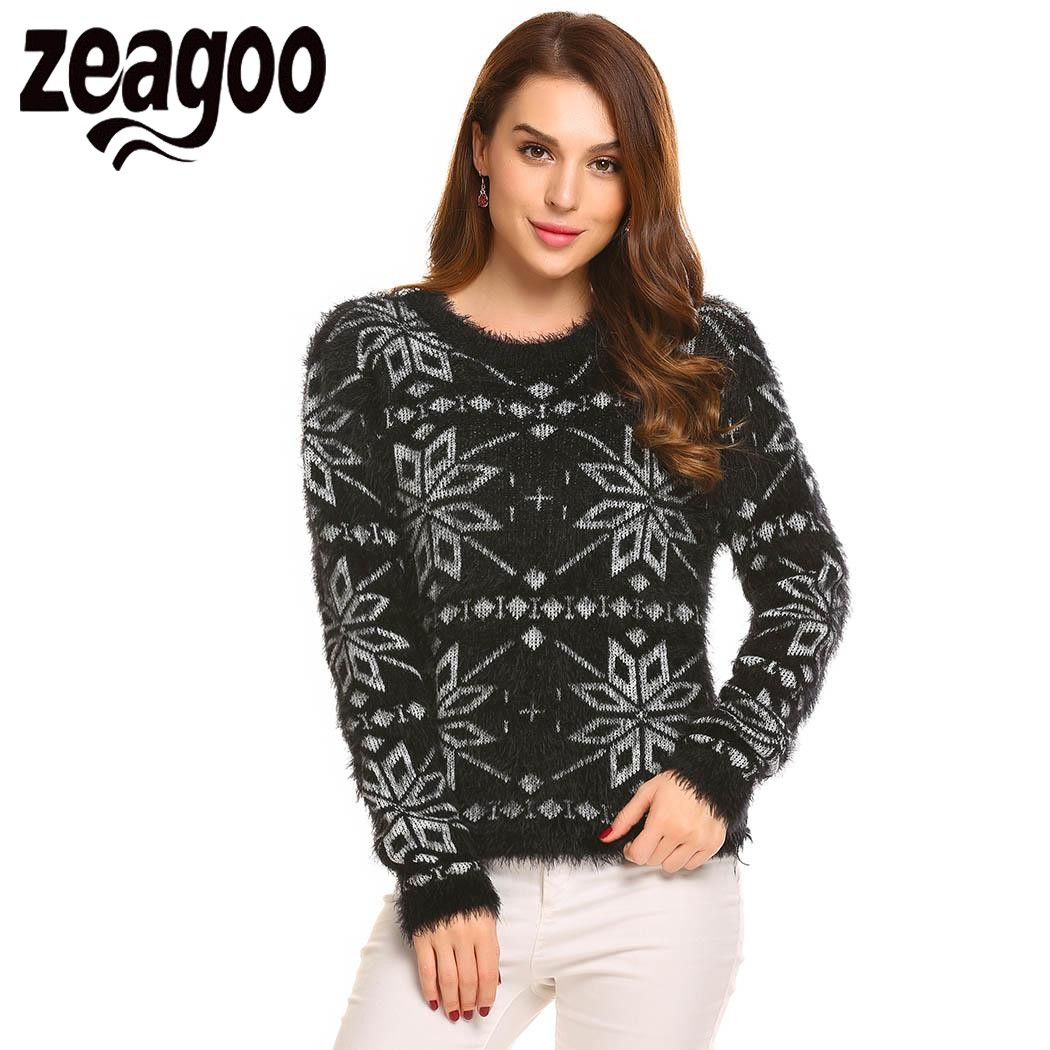 Zeagoo 2017 Women Sweater Pullover Autumn Winter Sweaters O-Neck Long Sleeve Christmas Casual Soft Knit Pullover Sweater pull