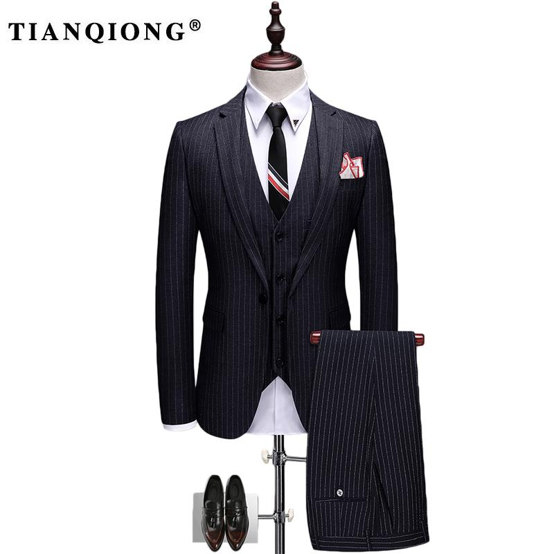 TIAN QIONG 2017 New Arrival Fashion Single Breasted Suits Men,weding Dress Men's Striped Suit,size S-XXXL, Jacket+ Pants+ Vest contrast striped single breasted dress