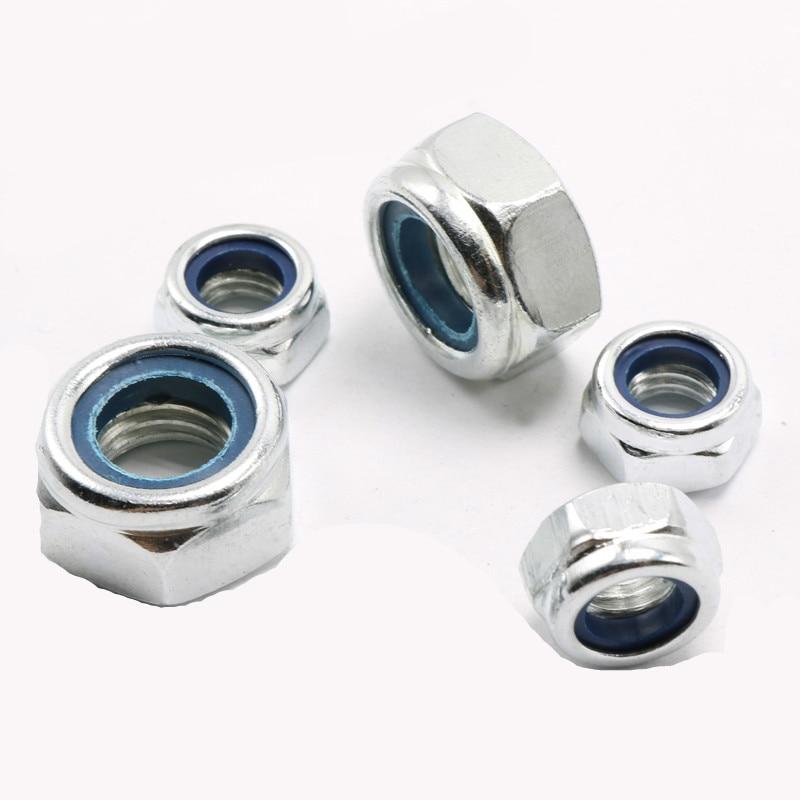 50Pcs DIN985 M2 M2.5 M3 M4 M5 M6 M8 Galvanized Carbon Steel Self-locking Nut Lock Nut Locknut Slip Nylon Hex Nut 10pcs carbon steel self locking hex nut nylon insert lock nut m2 m2 5 m3 m4 m5 m6 m8