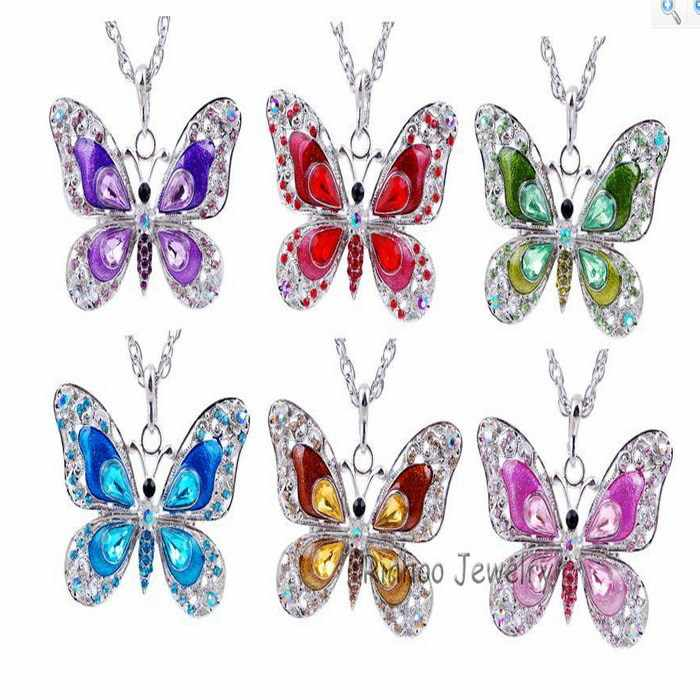 6 colors Butterfly necklace women butterfly pendant necklace Dress Clothing Costume jewelry accessories