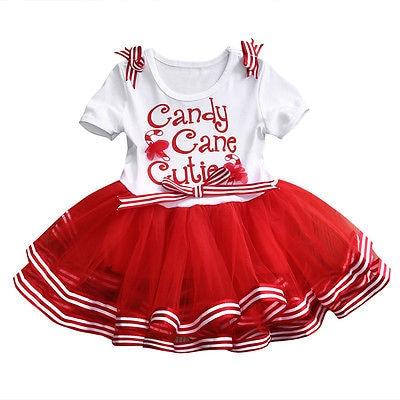 Toddler Kids Girl Christmas Candy Cane Cutie Dress Xmas Party Tutu Skirt Dresses