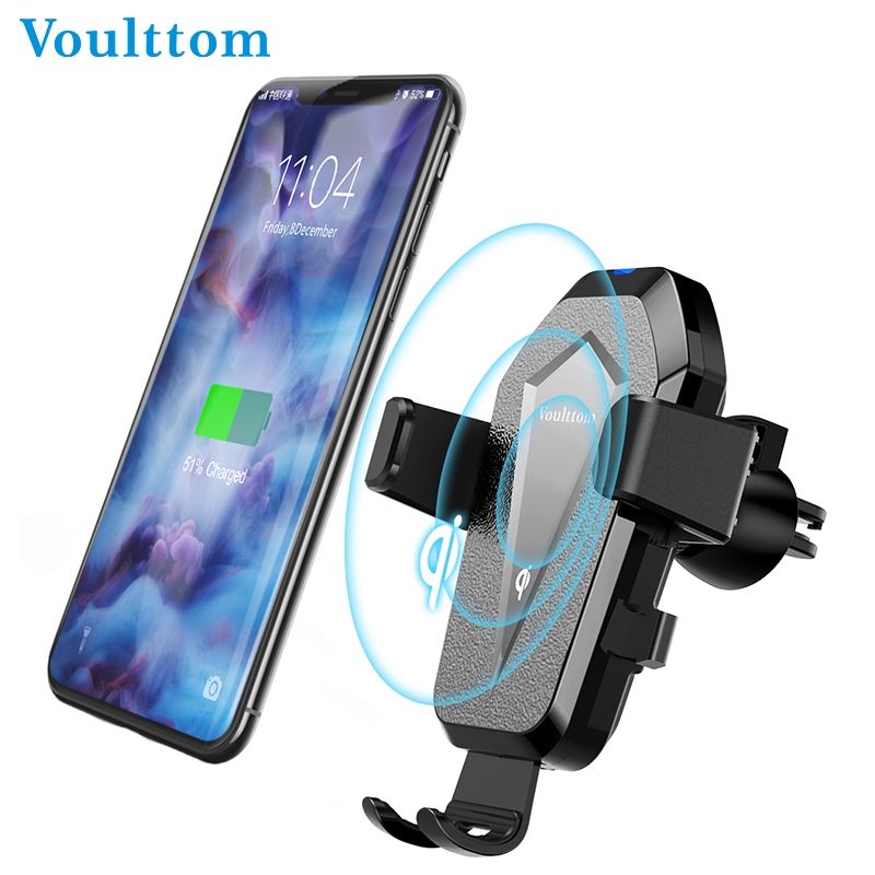 Voulttom Car Vent Mout QI Wireless Charging Phone Holder QC 3.0 10 W Charge For Samsung S8 Plus Car Phone Holder For iPhone 8 держатель для смартфона с функцией беспроводной зарядки