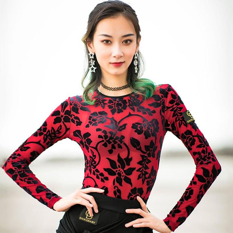 Latin Dance Top Women Short Long Sleeve Flannel Samba Salsa Practice Performance Dancing Shirt Womens Clothing Dancewear DN2484