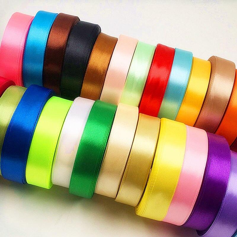 20 mm (25 야드 / a) 인공 순수 컬러 실크 리본 / 웨딩 파티 크리스마스 장식 리본 DIY 선물 상자 포장 콜라주