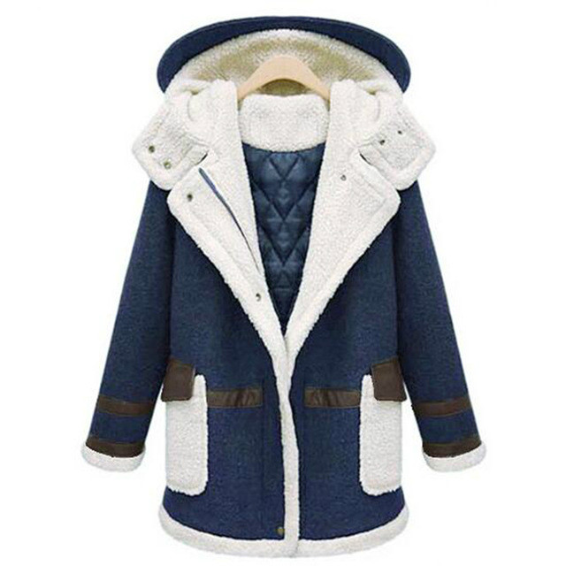 FASHION Winter Women Cotton Coats Jackets Casual Vintage Female Plus Size Warm Overcoat Outwear Patchwork Hooded Lamb Coat ювелирное изделие 01c614076