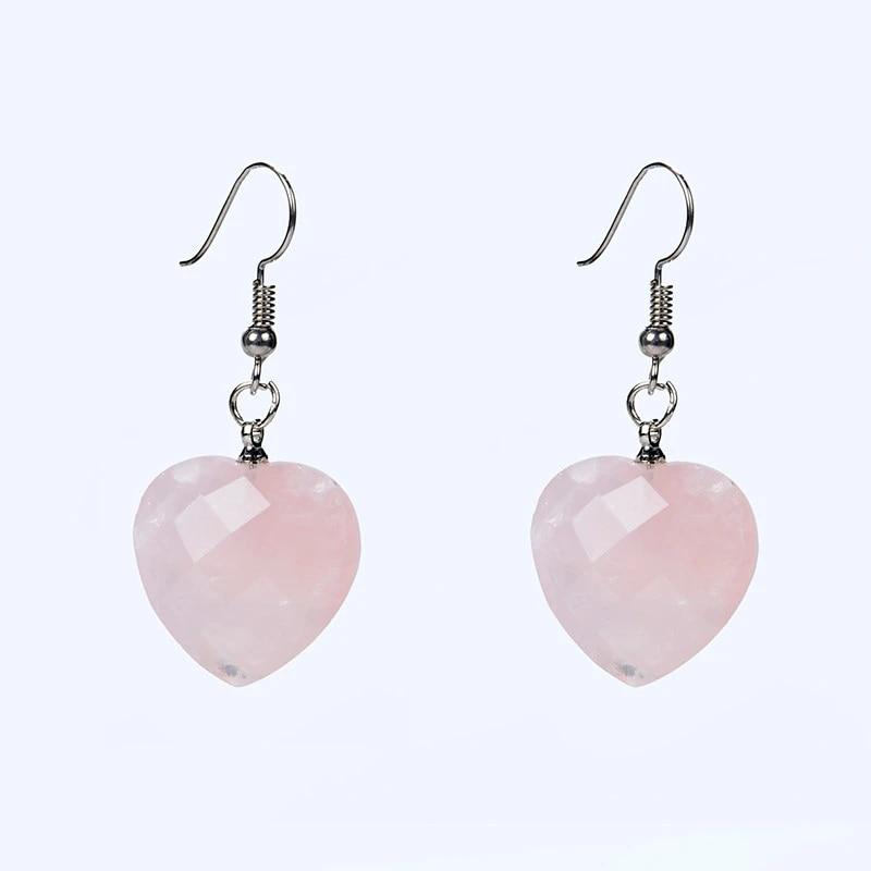 Dangling Heart Sodalite with Rose Quartz Earrings