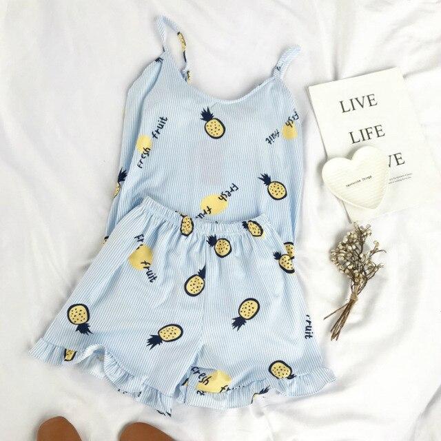 Summer-Lovely-Camis-Top-And-Frill-Hem-Shorts-Pajama-Set-Women-Lovely-High-Elastic-Pineapple-Set.jpg_640x640